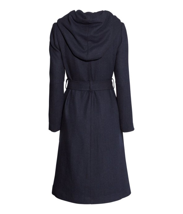H and M Denim Conscious Navy Wool Blend Coat Back