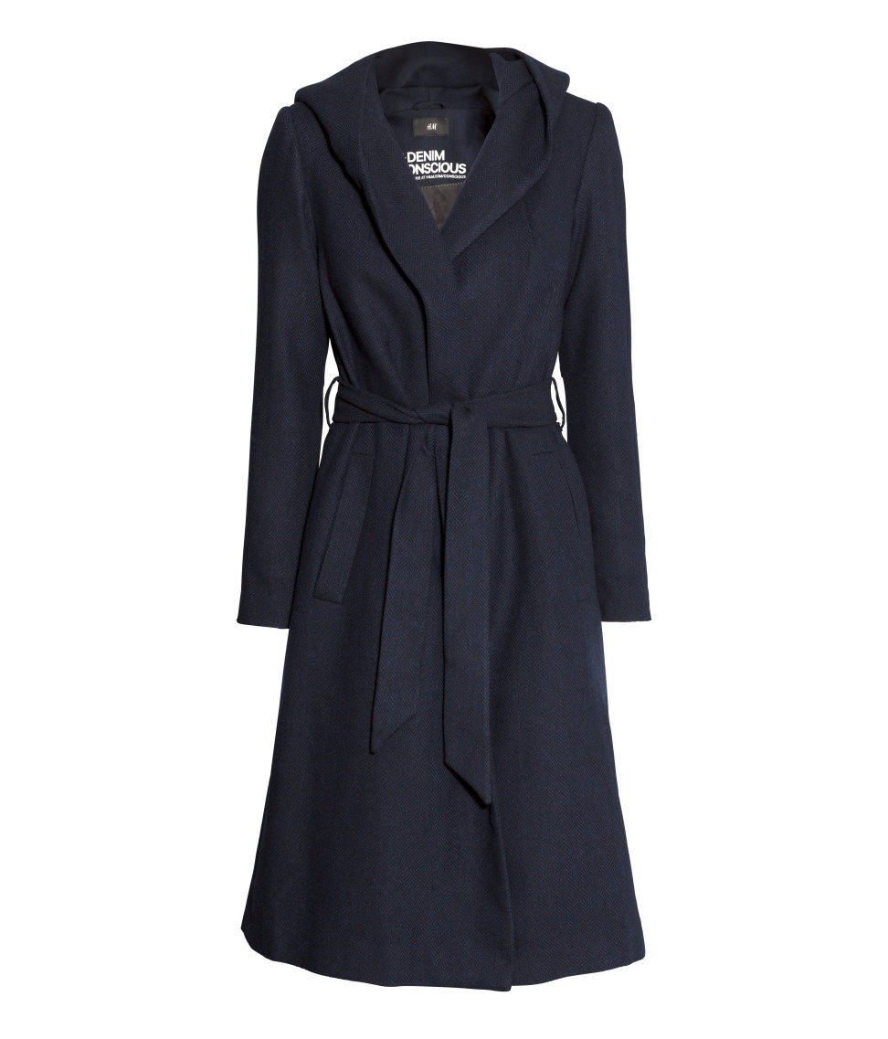 9f81e554cd1 H and M Denim Conscious Navy Wool Blend Coat