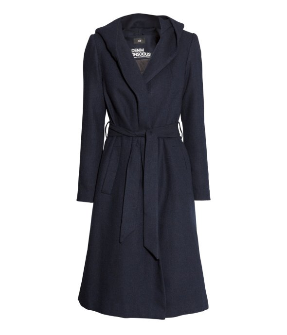 H and M Denim Conscious Navy Wool Blend Coat