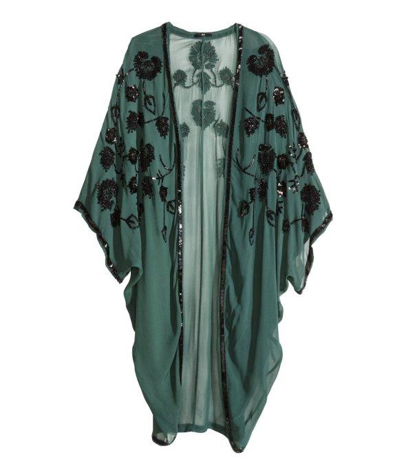 H and M Green with black beading Kimono