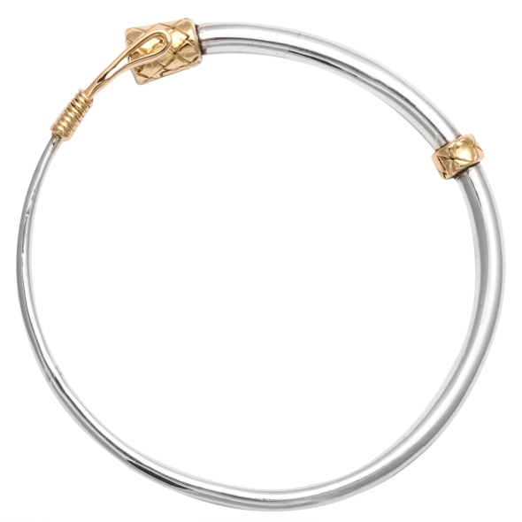 Hermes Gold and Silver Riding Crop Bracelet