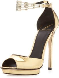 B Brian Atwood Gold Cassie Peep-toe