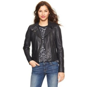 Gap Navy Leather Moto Jacket