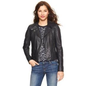 Gap Navy Leather Moto Jacket