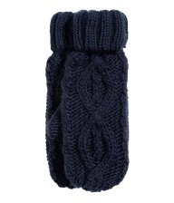 h&m navy cable knit mittens