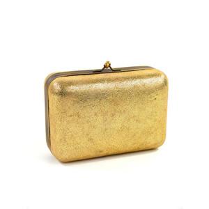 Hugo Boss Metallic Gold Leather Rectangular Box Clutch