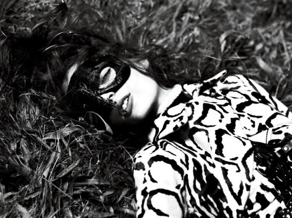 img-strict-Jacket Azzedine Alaia. Bustier Dolce & Gabbana. Mask Heather Huey. Choker Alexander McQueen. Harness Zana Bayne.