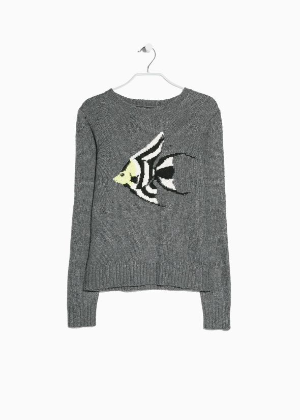 Mango: Jacquard wool-blend sweater
