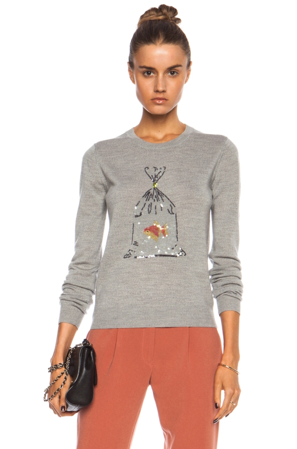 Markus Lupfer Sequin Fish in a Bag Wool Sweater.