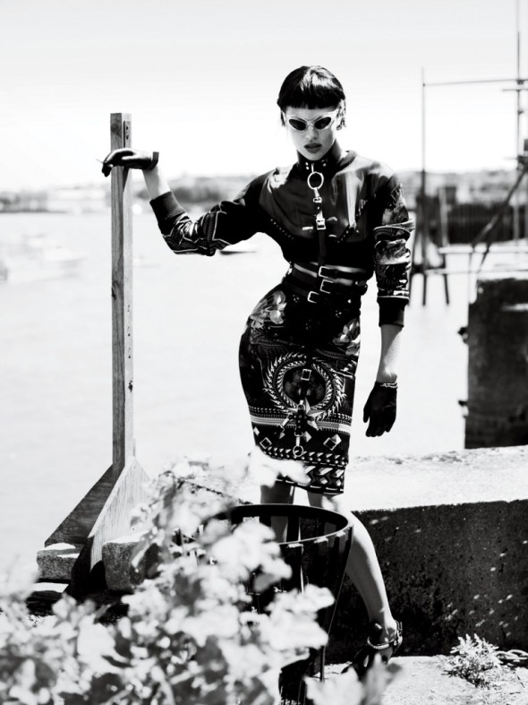 strict-Top and Skirt Givenchy. Bra Agent Provocateur. Sunglasses Cutler and Gross. Choker The Leather Man. Harness Zana Bayne. Belt Alexander Mcqueen. Gloves Carolina Amato.