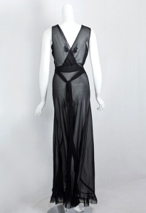 1930's Bias Cut Nightgown Black Back