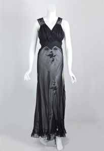 1930's Bias Cut Nightgown Black
