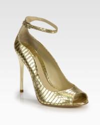 B. Brian Atwood Snakeskin Peep Toe Shoes