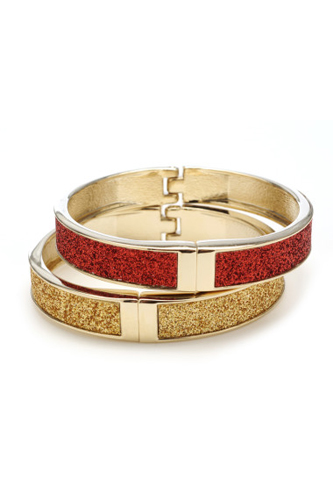 Betsey Johnson Glitter Set Hinge Bangles, $40