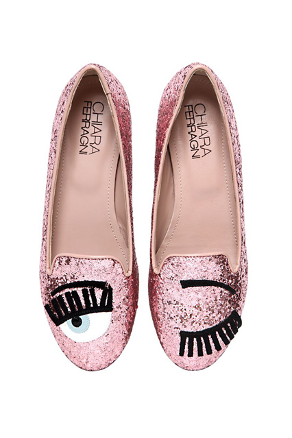 Chiara Ferragni Blink Eye Glitter Loafers, $259