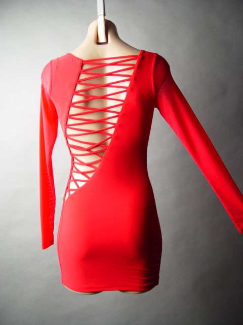 Red Lace Up Dress eBay