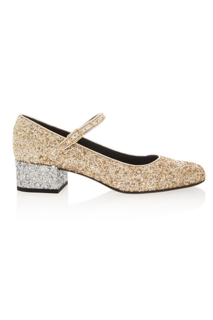 Saint Laurent Glitter Mary Jane Pumps, $750
