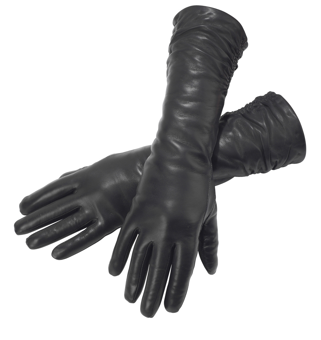Womens leather gloves toronto - Black Leather Long Ruched Gloves