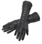 Black Leather Long Ruched Gloves
