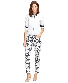 Brooks Brothers floral pants oxford blouse