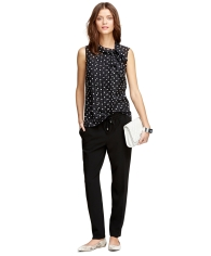 Brooks Brothers Polka Dot Blouse black pants clutch