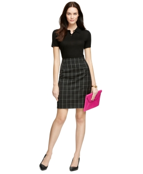 Brooks Brothers Silk Button Down Skirt