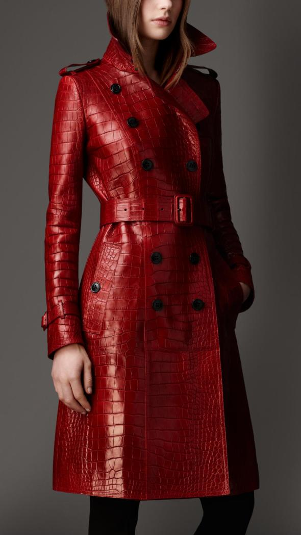 Burberry Leather Red Trench Coat