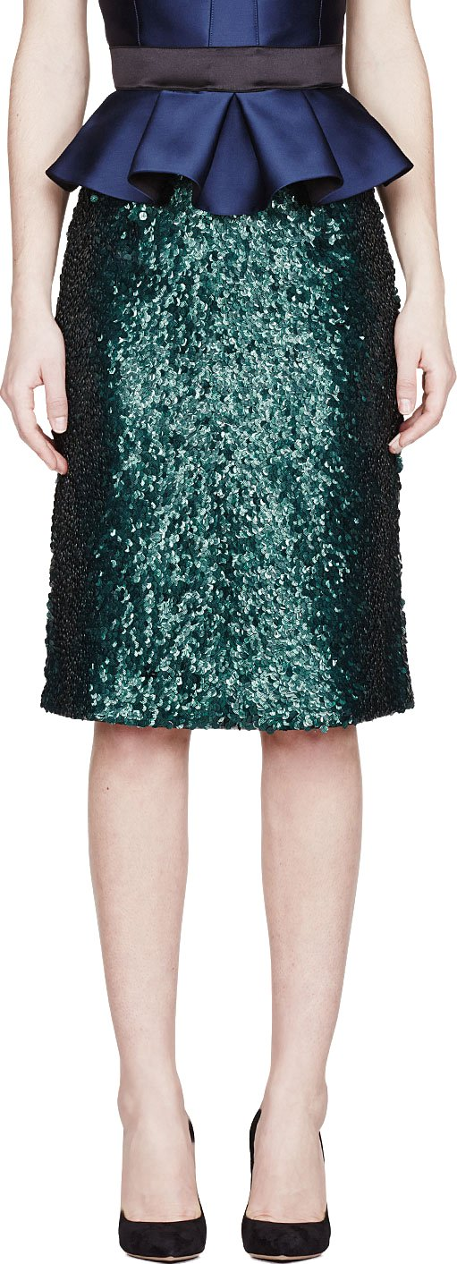 burberry-prorsum-Bottle Green Metallic Sequined Tailored Skirt