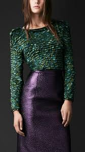 BURBERRY PRORSUM feather embroidered bodysuit leather skirt