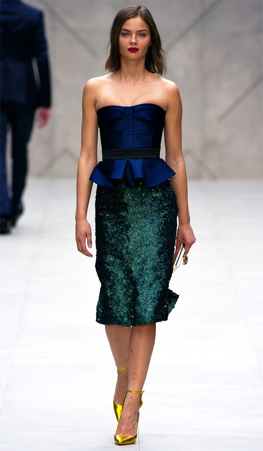 burberry-prorsum-spring-2013-navy-blue-bustier-top-green-sequin-skirt