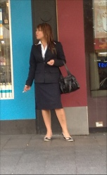 Business suit and flats
