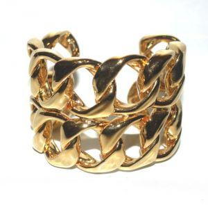 Chanel Gold Tone Open Link Cuff Bracelet