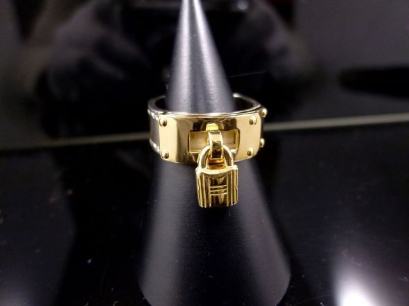Hermes Padlock Ring Sterling and Gold 2