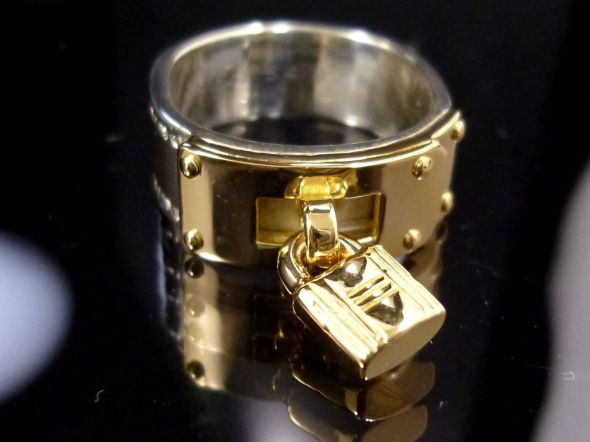 Hermes Padlock Ring Sterling and Gold 3