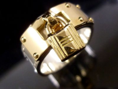 Hermes Padlock Ring Sterling and Gold