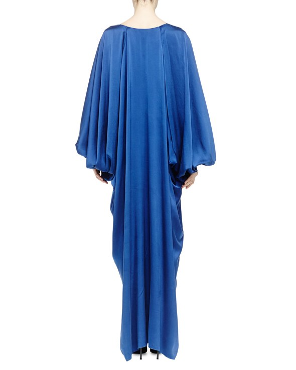 Lanvin Silk Satin Plunging Balloon-Sleeve Gown, Royal Blue Back