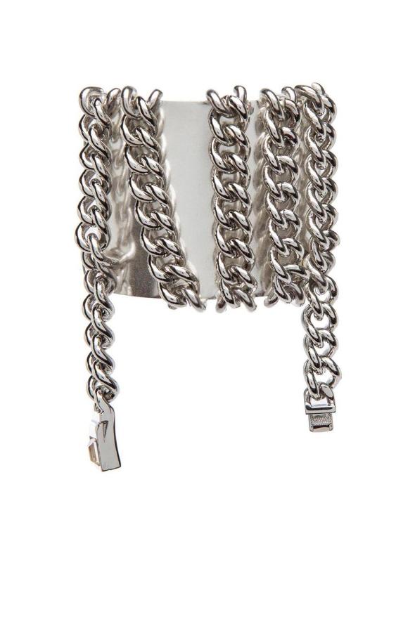 Maison Martin Margiela Brass Cuff Bracelet in Silver & Rhodium