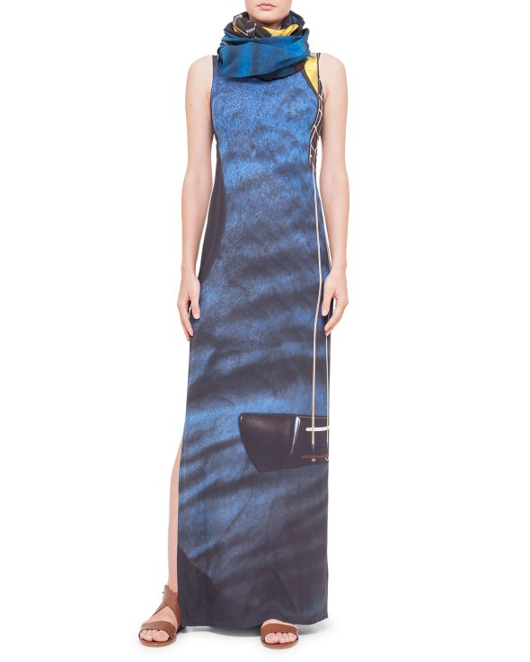 Akris Punto Guitar-Print Ankle-Length Dress & Cotton-Cashmere Scarf