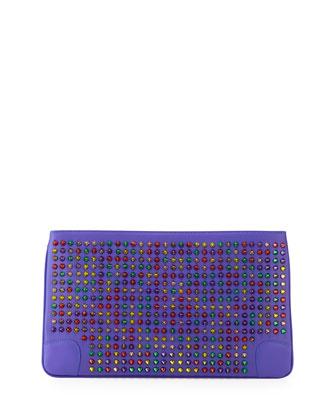 Christian Louboutin Loubiposh Multicolor Spiked Clutch Bag BG $995
