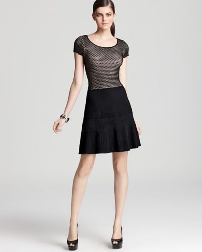 Issa London black cap sleeved lace dress