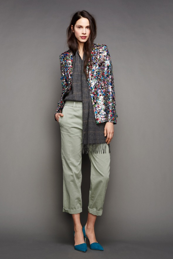 J Crew Sequins and olive drab pants