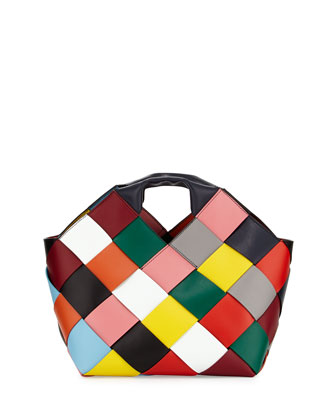 Loewe Small Woven Leather Tote Bag, Multi BG $3390
