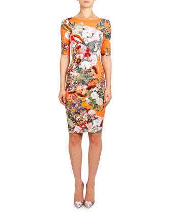 Mary Katrantzou Lobelia Peach Plie Boat-Neck Jersey Dress Orange-Multi BG $1040