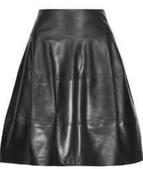 michael kors-black leather A line skirt