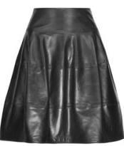 Michael Kors black leather A line skirt