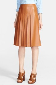 michael kors-blown leather pleated skirt