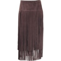 michael kors-brown fringe skirt