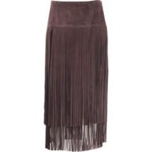 michael kors-brown fringe skirt