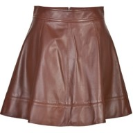 michael-kors-brown leather circle skirt