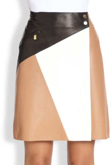 michael-kors-suntan-leather-colorblock-skirt-